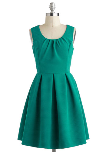 Teal Twirl Dress - Green, Solid, Pleats, Work, A-line, Tank top (2 thick straps), Short, Minimal