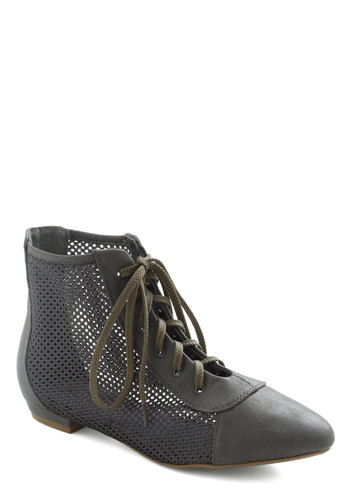 Behind the Screens Bootie - Grey, Solid, Flat, Lace Up
