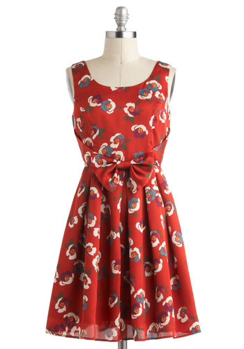 Flower Couple Dress in Rust - Satin, Mid-length, Multi, Bows, Pleats, Casual, A-line, Sleeveless, Tan / Cream, Red, Daytime Party