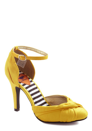 Canary Cruise Heel - Yellow, Solid, Mid, Party, Vintage Inspired