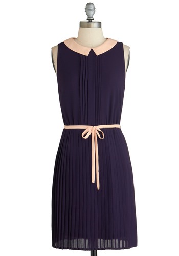 Fruit for Breakfast Dress - Mid-length, Purple, Pink, Solid, Pleats, Belted, Daytime Party, Sleeveless, Collared, Shift, Exclusives, Work
