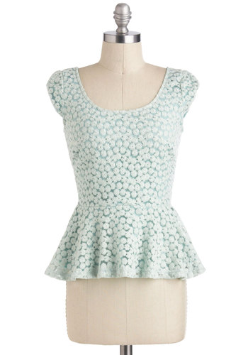 Tint of Things to Come Top - Mint, Peplum, Cap Sleeves, Short, Daytime Party, Vintage Inspired, Work, Scoop