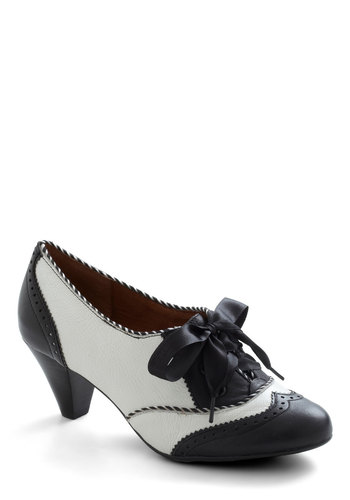 Shoeful of Sugar Heel in Black & White by Poetic License - Mid, Leather, Black, White, Party, Work, Menswear Inspired, Vintage Inspired, 20s, 30s, Luxe, Variation, Graduation, 60s, Folk Art, Top Rated