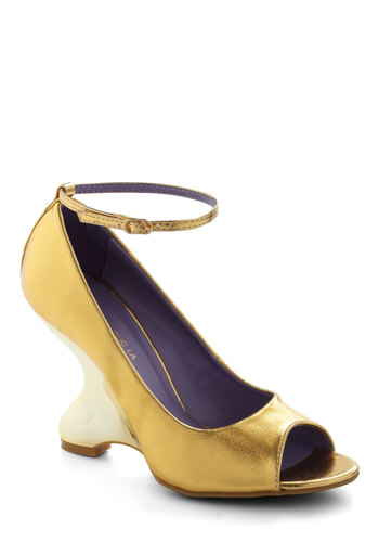 Milan Time Coming Heel - Gold, Solid, Wedge, Peep Toe, High, Girls Night Out, Holiday Party, Vintage Inspired, Statement, Nautical, Special Occasion
