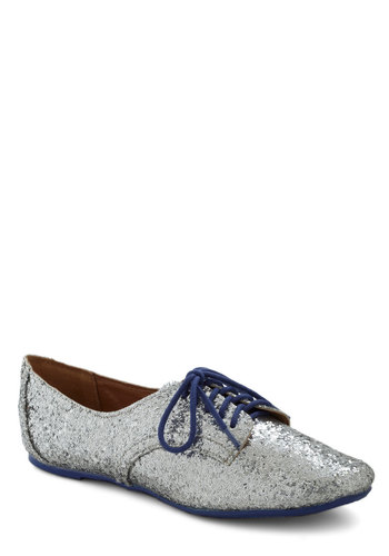 New York State of Shine Flat - Flat, Silver, Blue, Sequins, Party, Vintage Inspired