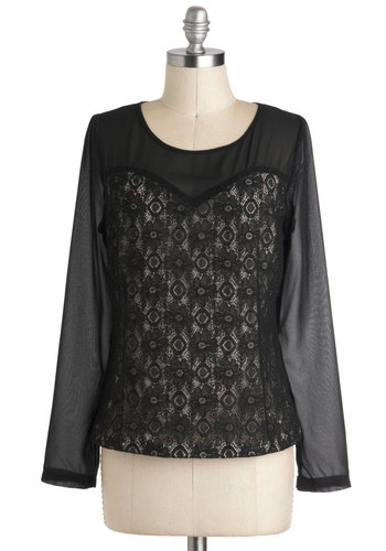Place and Timeless Top - Black, Tan / Cream, Lace, Party, Cocktail, Girls Night Out, Long Sleeve, Sheer, Mid-length