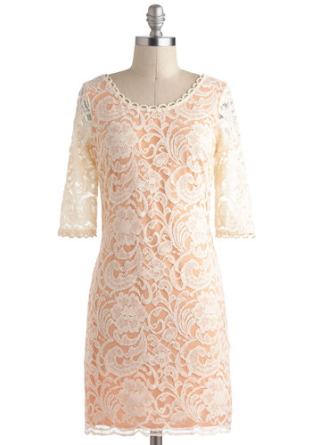 Turnip the Heat Dress - Cream, Exposed zipper, Lace, Sheath / Shift, 3/4 Sleeve, Mid-length, Daytime Party, Orange, Pastel, French / Victorian, Graduation