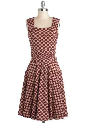 Guest of Honor Dress in Dots by Effie's Heart - Cotton, Long, Red, Polka Dots, Pleats, Belted, Casual, Vintage Inspired, A-line, Tank top (2 thick straps), Tan / Cream