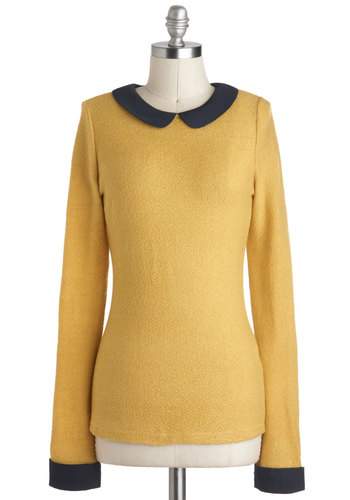 Collar Like I See It Top - Yellow, Black, Solid, Peter Pan Collar, Work, Mid-length, Vintage Inspired, Mod