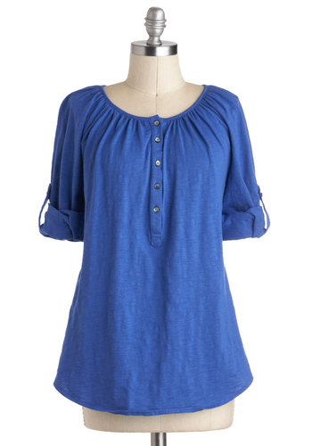 Lake Your Time Top - Blue, Solid, Buttons, Casual, 3/4 Sleeve, Mid-length, Cotton, Travel