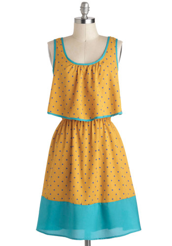 Storyboard Ending Dress - Mid-length, Yellow, Blue, Purple, Polka Dots, Tiered, Trim, Casual, A-line, Tank top (2 thick straps), Summer