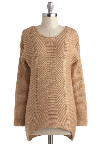 First Light Sweater - Mid-length, Tan, Solid, Knitted, Casual, Long Sleeve, Travel