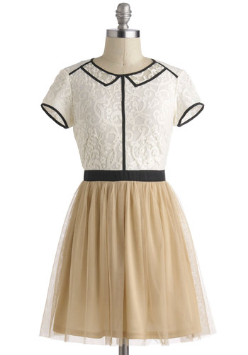Drawing Attention Dress - Cotton, Sheer, Short, Tan / Cream, Black, White, Lace, Short Sleeves, Ballerina / Tutu, Twofer, Party, Vintage Inspired