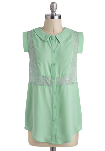 The Minty Project Top - Sheer, Long, Mint, Solid, Buttons, Lace, Peter Pan Collar, Short Sleeves, Collared, Casual, Pastel