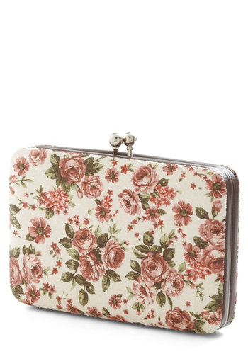 Worth Every Scent Wallet - Cream, Green, Pink, Floral, Vintage Inspired