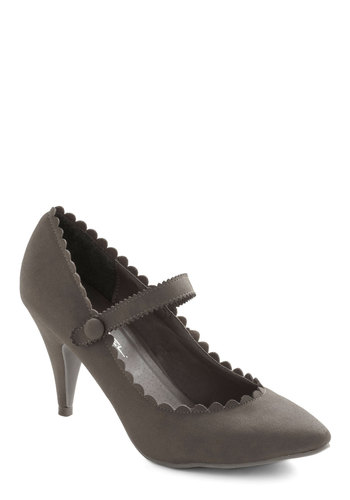 Craft of Charm Heel in Stone - Grey, Solid, Scallops, Mary Jane, Mid-length, Party, Work, Vintage Inspired, Variation