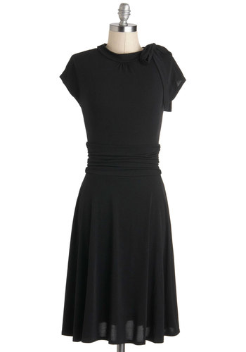 Dance Floor Date Dress in Midnight - Jersey, Long, Black, Solid, Bows, Ruching, Casual, A-line, Short Sleeves, Party, Work, Vintage Inspired, 40s, Minimal, Best Seller, Top Rated