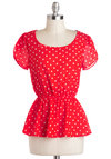 Tea and Trumpets Top - Mid-length, Red, White, Polka Dots, Work, Casual, Vintage Inspired, Short Sleeves, Valentine's, Red, Short Sleeve