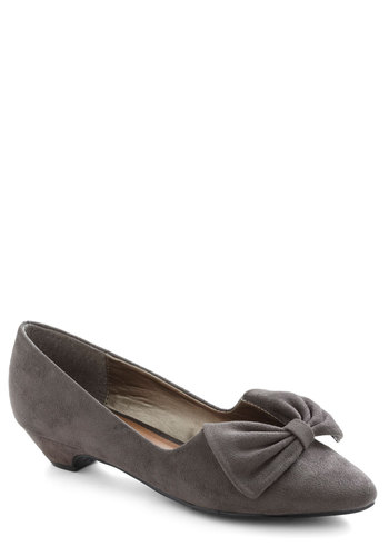 Your Wild Heart Heel in Grey - Grey, Solid, Bows, Vintage Inspired, 30s, Low, Variation