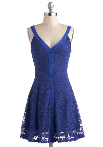 V for Vivacious Dress - Mid-length, Blue, Solid, Buttons, Cutout, Lace, Party, A-line, Spaghetti Straps, V Neck