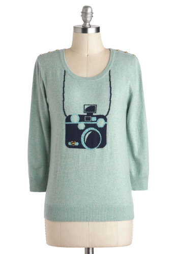 Picture This Sweater by Yumi - Blue, Casual, Long Sleeve, Novelty Print, Buttons, Mid-length, Mint
