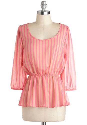 Pep Right Up Top - Pink, Tan / Cream, Stripes, Work, Peplum, 3/4 Sleeve, Sheer, Mid-length, Scoop