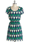 Know All the Triangles Dress - Mid-length, Multi, Green, Blue, White, Print, Casual, A-line, Short Sleeves, Scoop, Travel