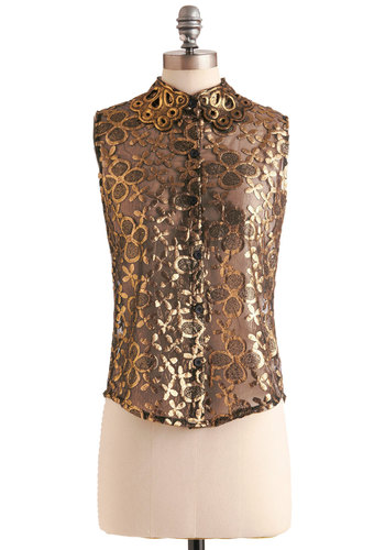 Golden Garden Top - Floral, Buttons, Embroidery, Sleeveless, Mid-length, Gold, Black, Eyelet, Party, Press Placement