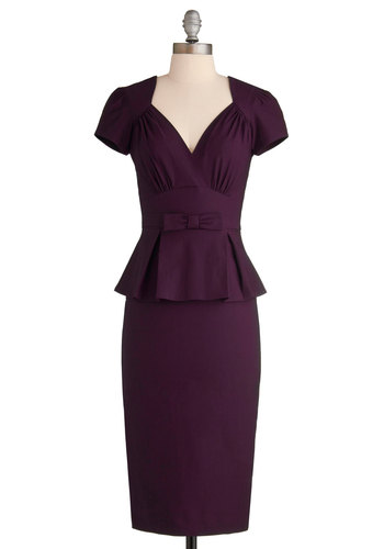 Irresistible Enchantress Dress in Eggplant by Stop Staring! - Purple, Solid, Work, Rockabilly, Pinup, Vintage Inspired, Peplum, Short Sleeves, Long, Bows, V Neck, Pleats, Exclusives