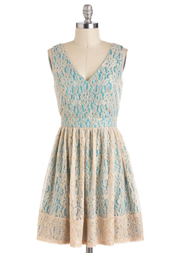 Wouldn't It Be Ice Dress - Tan / Cream, Lace, A-line, Sleeveless, Spring, Mid-length, Daytime Party, V Neck, Blue, Floral, Graduation