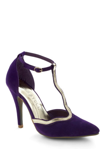 Winding My Way Heel in Plum - Purple, Silver, Solid, Trim, Holiday Party, Vintage Inspired, Special Occasion