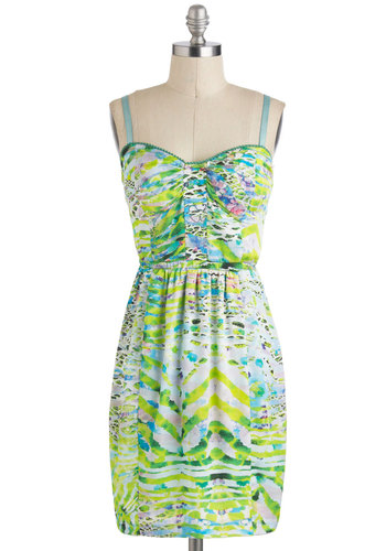 Party at My Lily Pad Dress - Casual, Mid-length, Print, Cutout, Spaghetti Straps, Multi, Summer