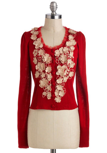 Free to Embellish Cardigan by Ryu - Short, Red, Solid, Buttons, Flower, Work, Vintage Inspired, Long Sleeve, Casual, Holiday Party