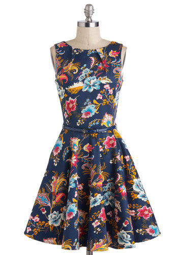 Luck Be a Lady Dress in Potpourri - Blue, Multi, Floral, Pleats, Belted, Party, Sleeveless, Fit & Flare, Mid-length, Cotton, Exposed zipper, A-line, Pockets, Daytime Party, Variation, Graduation, Basic, Gifts Sale