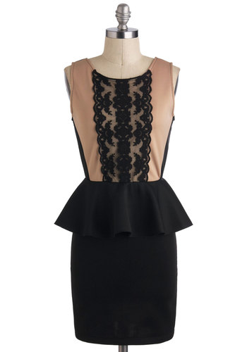 All in Almond Dress - Black, Lace, Peplum, Long, Cocktail, Sleeveless, Tan / Cream
