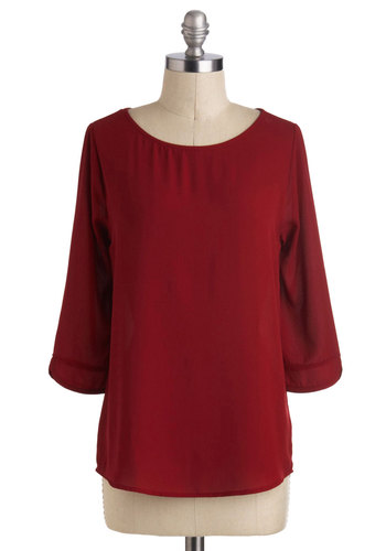 What's Your Secret? Top - Solid, Casual, 3/4 Sleeve, Mid-length, Red