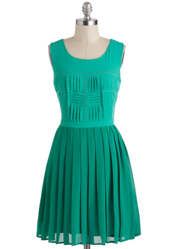It's Been A-Tile Dress - Green, Solid, Pleats, A-line, Sleeveless, Mid-length, Work