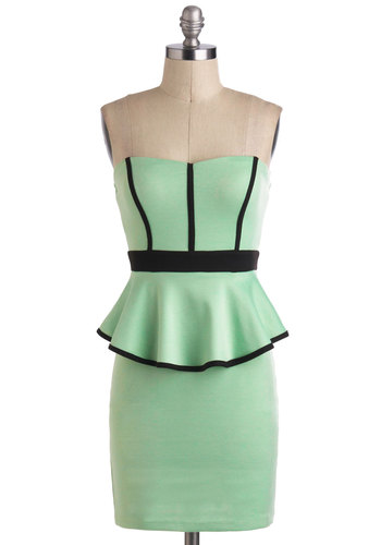 Do a Little Sprig Dress - Short, Mint, Black, Party, Pastel, Peplum, Strapless, Girls Night Out, Summer