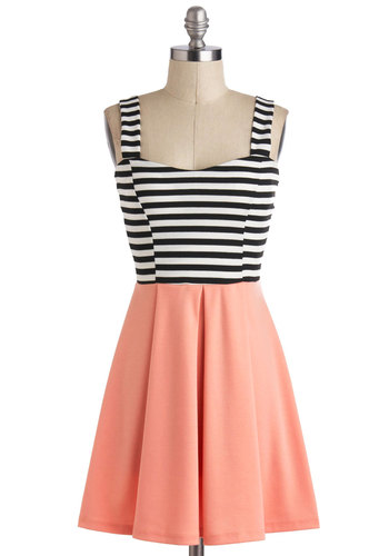 Feeling Grapefruit Dress - Short, Pink, Black, White, Stripes, Casual, A-line, Twofer, Sleeveless, Sweetheart, Pleats, Nautical