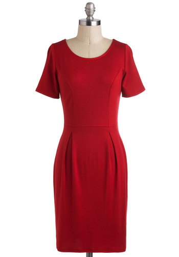 What I Amaryllis Dress - Jersey, Mid-length, Red, Solid, Pleats, Work, Minimal, Shift, Short Sleeves