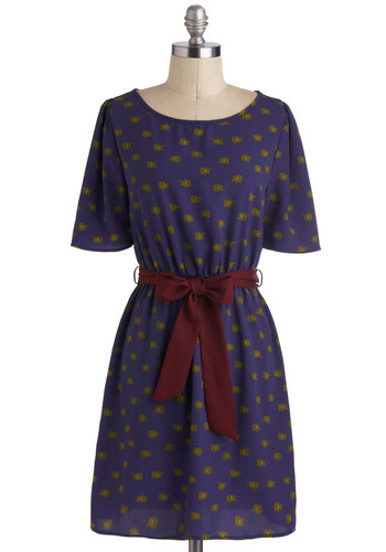 We Got the Trunk Dress in Indigo - Print with Animals, Mid-length, Blue, Red, Green, Belted, Casual, A-line, Short Sleeves