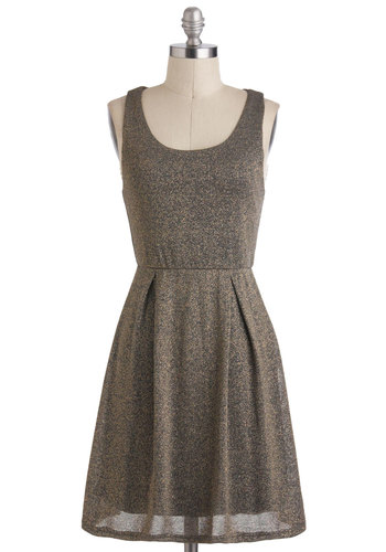 Daily Sparkle Dress - Mid-length, Gold, Grey, Solid, Glitter, A-line, Tank top (2 thick straps), Party, Scoop