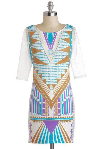 Futuristic Terrain Dress - International Designer, Multi, Blue, Purple, Brown, White, Print, Party, Mini, Shift, 3/4 Sleeve
