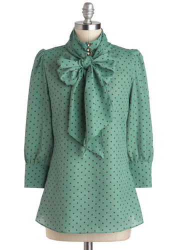 Print Journalist Top in Wintergreen - Green, Black, Polka Dots, Bows, Tie Neck, Work, 3/4 Sleeve, Mid-length, Mint