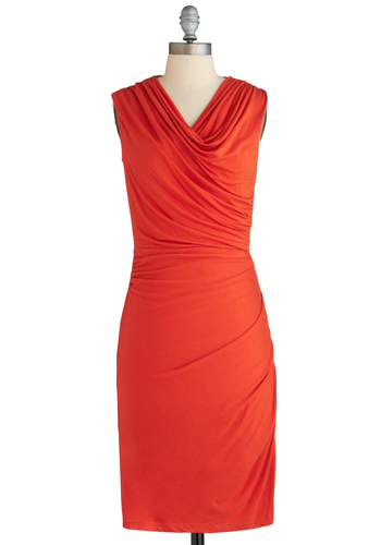 Class and Comfort Dress - Long, Jersey, Orange, Solid, Ruching, Work, Sleeveless, Cowl, Shift, Exclusives, Gifts Sale, Casual