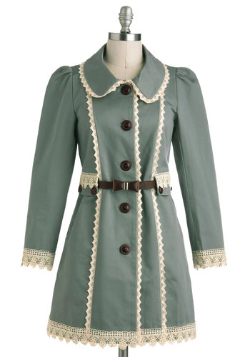 Wishing Well Acquainted Coat - 2, Green, White, Buttons, Trim, Long Sleeve, Casual, Vintage Inspired, Long