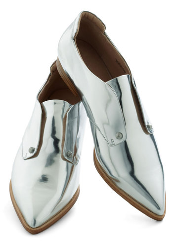 Chrome a Little Closer Flat by Joe's Jeans Footwear - Silver, Solid, Low, Party, Menswear Inspired, Vintage Inspired, 70s, Luxe