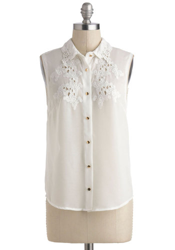 Carefree Spirited Top - Sheer, Mid-length, White, Solid, Buttons, Eyelet, Work, Daytime Party, Sleeveless, Collared, Nautical, Summer, White, Sleeveless