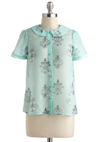 From the Campground Up Top - International Designer, Mint, Black, Buttons, Peter Pan Collar, Vintage Inspired, Pastel, Quirky, Short Sleeves, Collared, Print with Animals, Novelty Print, Work, Sheer, Mid-length