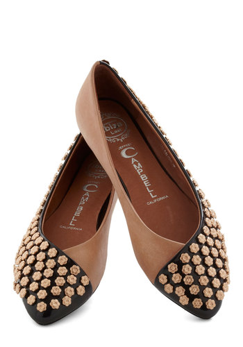 Study Buds Flat by Jeffrey Campbell - Tan / Cream, Solid, Flower, Flat, Leather, Black, Studs